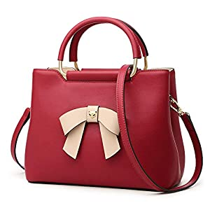 Leather Handbags for Women, Genuine Leather Ladies Shoulder Bag with Bow-knot Decoration Womens Purses and Handbags