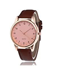 Redvive Couple Leather Band Analog Quartz Round WristWatch Men's And Women's Brand Watch (coffee)