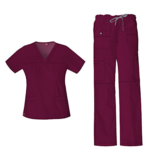 Dickies Gen Flex Women's Junior Fit 'Youtility' Top 817455 GenFlex Women's Low Rise Drawstring Cargo Pant 857455 Scrub Set (Wine - Large/Large Petite)