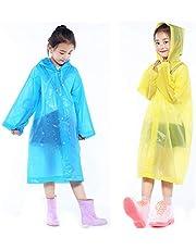 2 عبوة من معطف مطر للأطفال، معطف مطر متنقل قابل لإعادة الاستخدام للأولاد والبنات من عمر 6-12 سنة، ملابس مطر للأطفال للأنشطة الخارجية - أزرق وأصفر
