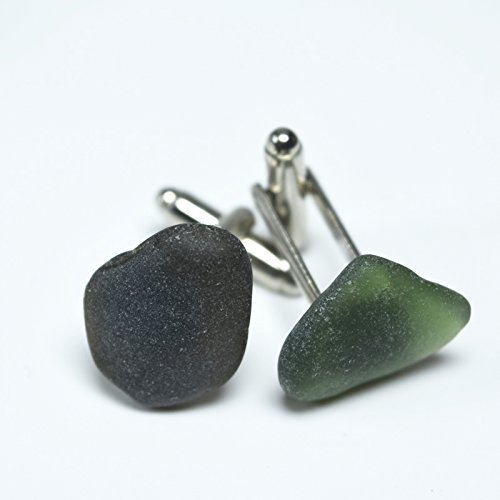Custom Genuine Surf Tumbled Frosted Sea Glass Cufflinks - 1 Set