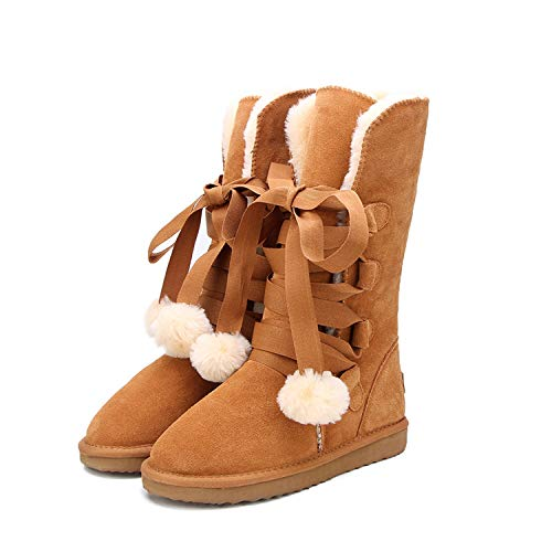 Snow Boots Women Fashion Genuine Leather High Boot Winter,Chestnut,6