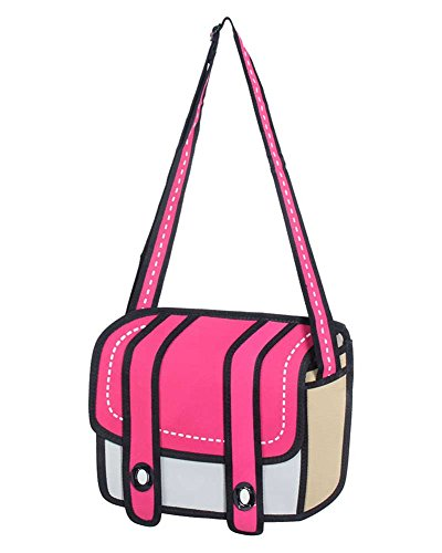 Leegoal 3D Jump Style 2D Drawing From Cartoon Paper Bag ,Pink