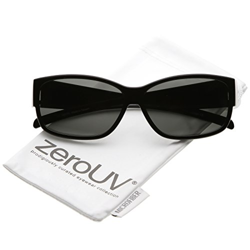 zeroUV - Oversize Thick Frame Tapered Wide Arms Polarized Lens Rectangle Sunglasses 59mm (Black / - Glasses Rectangle Thick Black