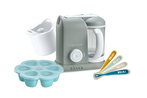 BEABA 1st Stage Feeding Gift Set, Includes Babycook, Silicone Spoons, Silicone Food Storage Tray, Grain Insert, Cloud (Baby Food Maker Beaba)