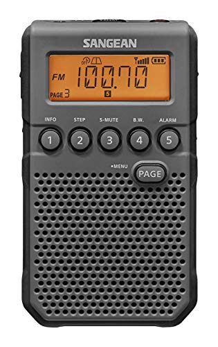 Sangean DT-800BK AM / FM / NOAA Weather Alert Rechargeable Pocket Radio (Black/Gray)