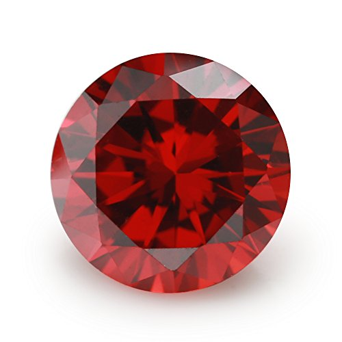 (100PCS Size 3.0mm 5A Round Machine Cut Garnet Color Cubic Zirconia Stone Loose CZ Stones (3.0mm 100pcs))