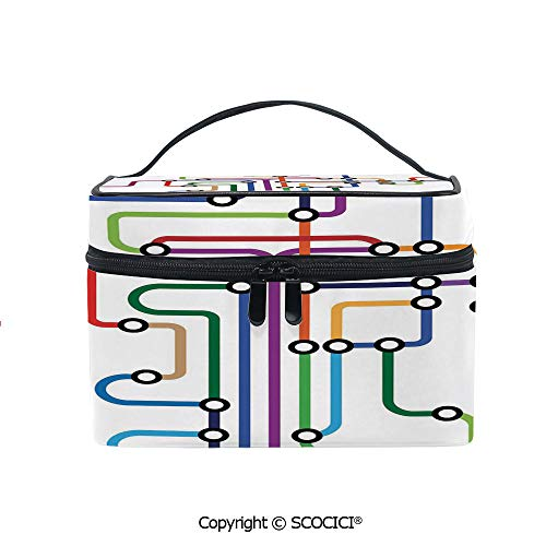 Printed Durable Portable Travel Cosmetic Bags Colorful Abstract Subway Map Lines and Dots Navigation Guide Modern Underground Railway Decorative with Mesh Pocket Women Make Up Bags