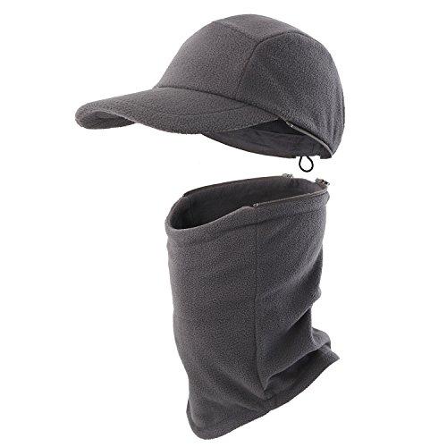 Home Prefer Mens Winter Hat with Visor Balaclava Fleece Hood Windproof Skull Cap Face Mask Scarf Neck Gaiter Carbon