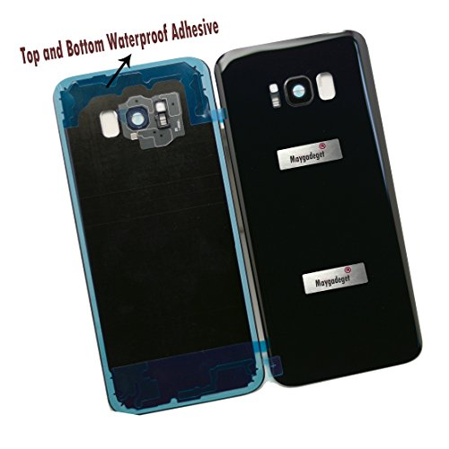 New Maygadget For Samsung Galaxy S8 Plus 6.2 G955 Rear Panel True Glass Back Cover Housing Replacement W/Waterproof Adhesive,Rear Camera Cover Lens&Flash Diffuser-Black