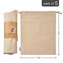 Organic Cotton Muslin Produce Storage Bag with Drawstrings; Large 11.5x13.5 Inch 5 Pack Holiday Gift Bags/Ideas, Reusable & Multipurpose;Great for Grocery Shopping & Household Organizing