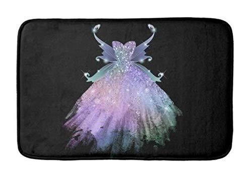 - Yesstd Fantasy Glitzy Sparkle Glam Gown Pixie Wings Absorbent Super Cozy Bathroom Rug Doormat Welcome Mat Indoor/Outdoor Bath Floor Rug Decor Art Print with Non Slip Backing 30