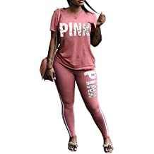Just For Future Women Jumpsuit Pink Letter Print Short Sleeve Crop Top and Long Pants Tracksuit 2 Piece Outfits