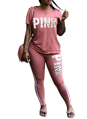 VNVNE Women Jumpsuit Pink Letter Print Short Sleeve Crop Top Long Pants Tracksuit 2 Piece Outfits (Pink, XXL)