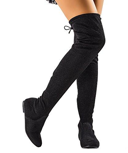 RF RAUM DER MODE Frauen Mode Bequeme Vegane Wildleder Seitlichem Reißverschluss Overknee Stiefel Schwarzer Glitter