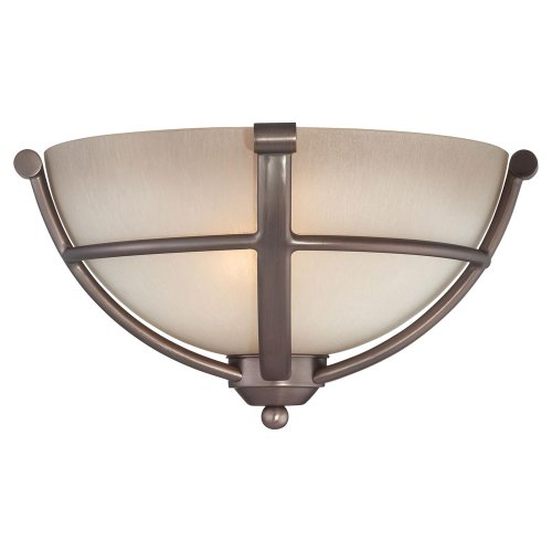 Minka Lavery 1420-281 2 Light Wall Sconce in Harvard Court Bronze Finish w/ Light French Scavo Glass - Two Light Wall Scone