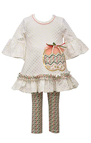 Bonnie Jean Thanksgiving Outfit - Ivory Pumpkin Applique Top and Legging Set