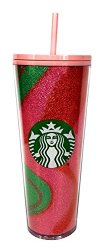 Glitter Pink Swirl Cold Cup Tumbler Holiday 2020 - Venti 24oz
