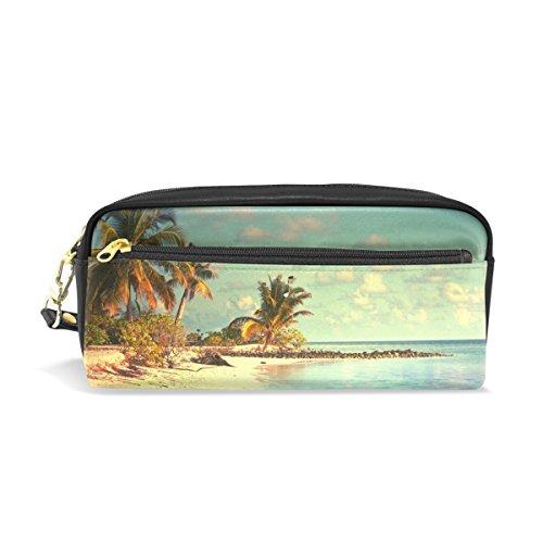 bennigiry Tropisches Paradies Strand Palmen Meer Ocean Sunshine Große Kapazität Federtasche, Kinder Kinder Studenten Stift Tasche Tasche für Reisen Schule Kosmetiktasche, klein