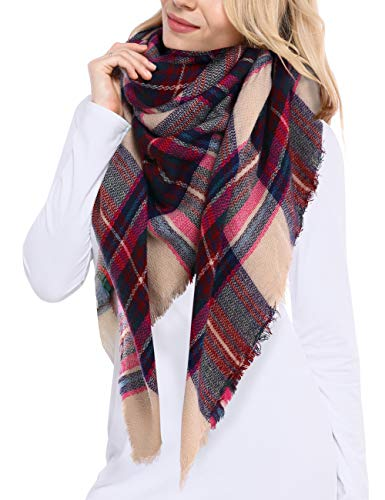 Bess Bridal Women's Plaid Blanket Winter Scarf Warm Cozy Tartan Wrap Oversized...