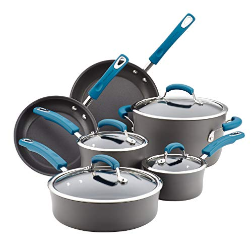 Rachael Ray Hard-Anodized Aluminum Nonstick Cookware Set, 10-Piece, Gray with Marine Blue Handles Renewed