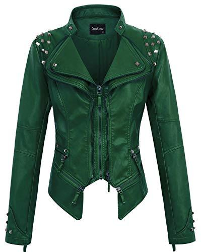 chouyatou Women's Fashion Studded Perfectly Shaping Faux Leather Biker Jacket (Medium, Green)