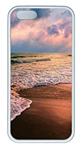 Apple iPhone 5S Cases - Shore waves TPU Hard Plastic Case for iPhone 5/5S - White