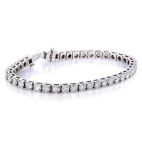 (Round-Cut Moissanite Tennis Bracelet 10 CTW 10k White)