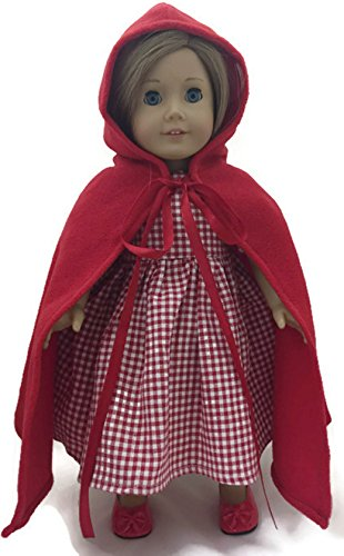 Halloween Costumes Red Riding Hood Cape (Doll Clothes Fits 18 inch American Girl - Little Red Riding Hood Dress & Cape)