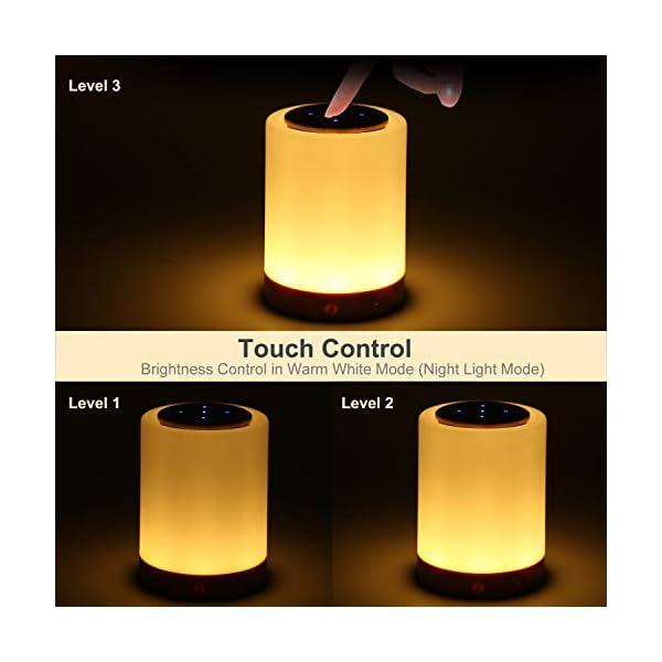 TAIPOW Lampe de Chevet LED Touch Portable avec Enceinte Bluetooth, Veilleuse Multicolore Disco Light Lecture de MP3 Support TF AUX-IN USB Rechargeable, Cadeau pour Adulte Ados Enfants Bébé 5