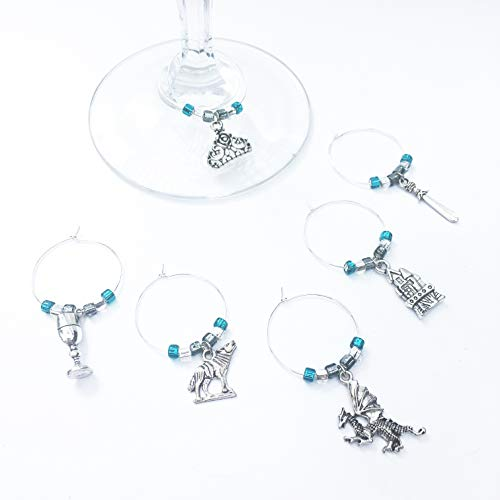(6 Piece Game of Thrones Theme Wine Charms, Wine Gift for Wine Lovers, Birthday Gift, Mother's Day Gift, Housewarming Present, Wedding Gift or Stocking Stuffers)