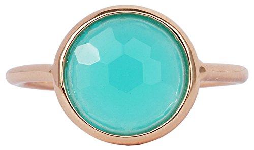 Amazonite 18k Rose Gold Clad Wholesale Gemstone Jewelry Round Ring