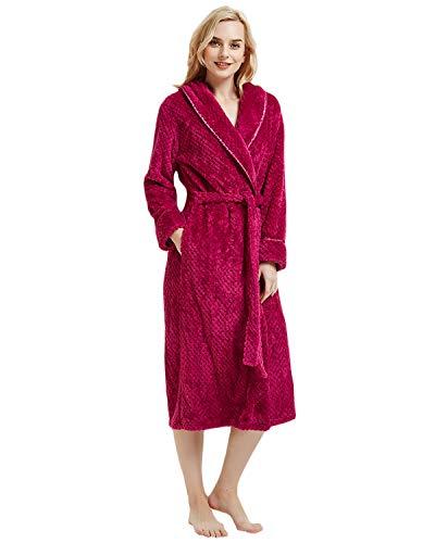 (LAPAYA Women's Long Bathrobe Shawl Collar Full Length Soft Warm Plush Fleece Robe, Rose Red, Tag Size XL=US Size L )