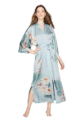 Old Shanghai Women's Kimono Robe Long - Watercolor Floral, Maren- Whisper ()