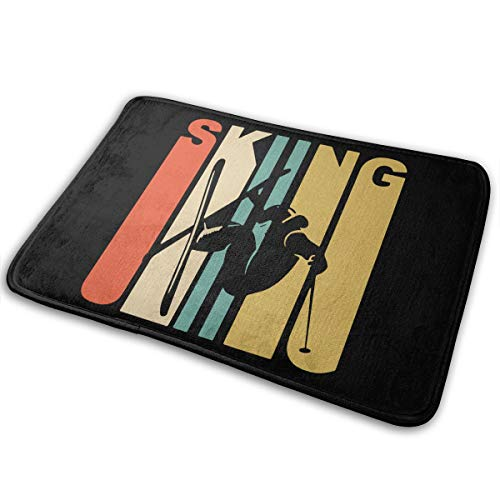 (LNUO-2 Indoor Outdoor Welcome Doormat Vintage Skiing Skier Silhouette Rug Floor Mats for High Traffic Areas, Rubber Non Slip Backing)