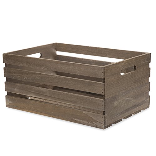 The Lucky Clover Trading Antique Wood Crate Basket with Handles, 17'', Brown by The Lucky Clover Trading