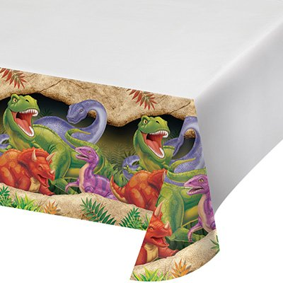 T-Rex Dinosaur Theme Party Supplies Pack (Serves-16) Plates Napkins Cups and Tablecloth - Dino Blast Party Supply Tableware Set Kit Includes Birthday Candles by Lobyn Value Pack (Image #4)