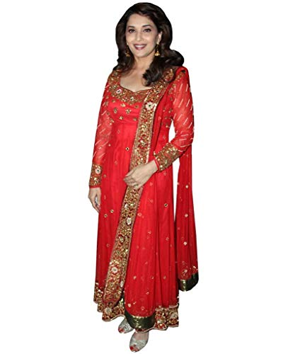 Madhuri Dixit in Red Color Anarkali Suit