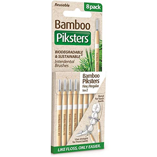 Piksters Bamboo Interdental Brush - Size 2 White 0.55mm - 8 Brushes Per Pack