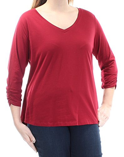 Style & Co . 3/4 Sleeve Cardigan - Style & Co. Womens Plus Jersey Ruched Sleeve Casual Shirt Red 0X