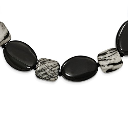ICE CARATS 925 Sterling Silver Black Agate Zebra Jasper Chain Necklace Natural Stone Fine Jewelry Ideal Mothers Day Gifts For Mom Women Gift Set From Heart (Agate Black Silver Sterling)