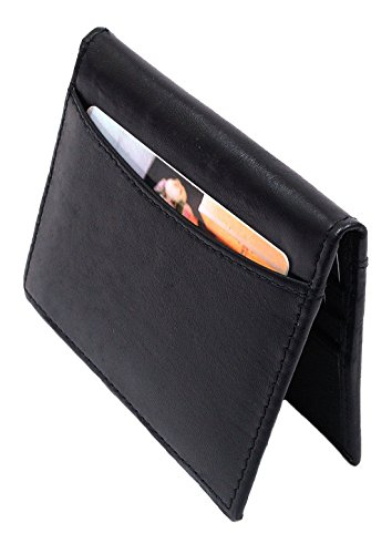 Alpine Swiss Mens Leather Compact Business Card ID Windows 6 slots-Black-Black