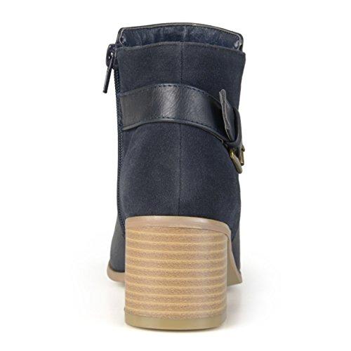 Collezione Donna Collezione Bootie Con Fibbia Tacco Alto Blu Marino