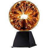 Katzco Orange Interactive Plasma Ball - 7.5 Inch - Nebula, Thunder Lightning, Plug-in - for Parties, Decorations, Prop, Home