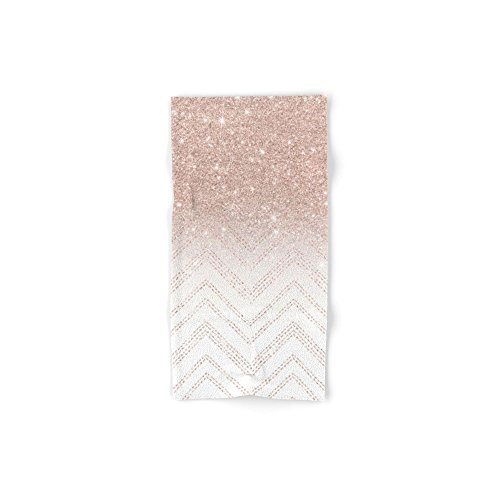 Society6 Modern Faux Rose Gold Glitter Ombre Modern Chevron Stitches Pattern Hand Towel 30