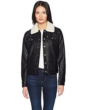 Women's Classic Faux Leather Sherpa Collar Trucker Jacket