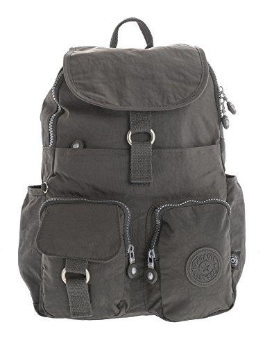Big Handbag Shop - Bolso mochila  de tela para mujer Backpack Style 3 - Dark Grey