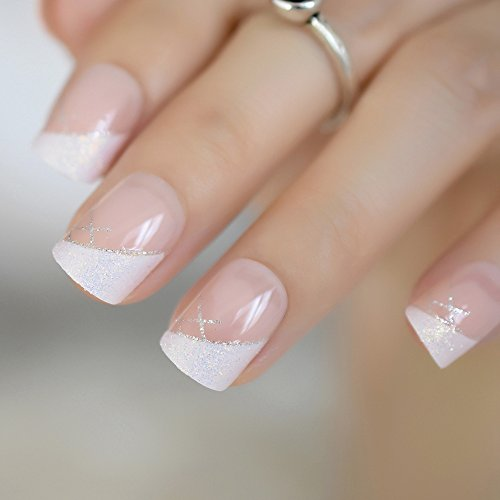 CoolNail Nude White French False Fake Nails Shimmer Glitter Decor Squoval Nail Tips Full Cover Faux Ongle Acrylic Artificial Wear Nails]()