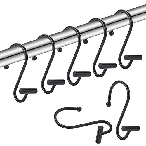 Amazer Shower Curtain Hooks, Durable Rust-Resistant Metal Shower Curtain Rings for Bathroom Shower Rod to Hang Curtain and Liner - Set of 12, Black