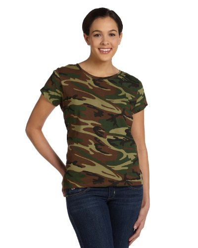 Code V Ladies' 4 oz. Fine Jersey Camouflage T-Shirt, Large, Green Woodland